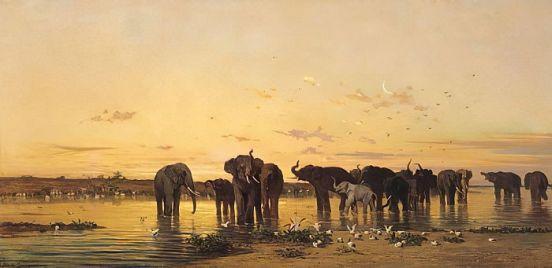 Charles Emile de Tournemine - African Elephants - (MeisterDrucke-47867)