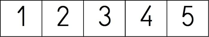 recta numerica del 1 al 5